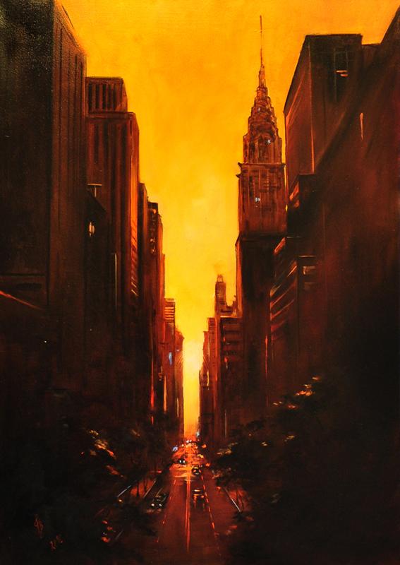New York napkelte: Olaj- vászon 50x70 cm
