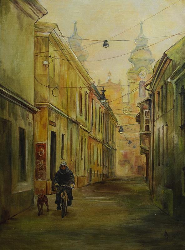 Győri hajnal: Olaj-vászon 40x50 cm