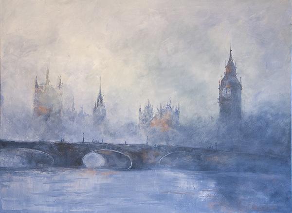 Ködbe veszve: Olaj-vászon 50x70 cm